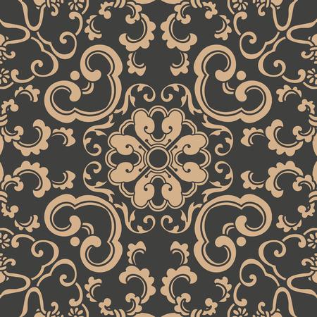 Ilustración de Vector damask seamless retro pattern background spiral curve cross oriental frame chain leaf vine flower. Elegant luxury brown tone design for wallpapers, backdrops and page fill. - Imagen libre de derechos
