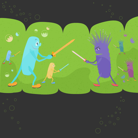 Illustrazione per Funny Interpretation of the Relationships Between Good and Bad Bacteriums. Microbial Environment of Human Intestines with Funny Probiotics and Pathogenic Bacteriums Fighting on a Swords - Immagini Royalty Free