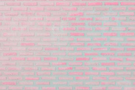 Photo pour Pastal Pink and White brick wall texture background. Brickwork or stonework flooring interior rock old pattern clean concrete grid uneven bricks design stack. - image libre de droit