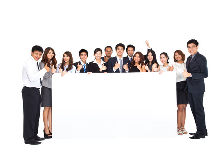 Photo for Business Team with empty banner - Royalty Free Image