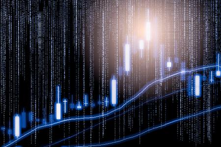 Foto de Index graph of stock market financial indicator analysis on LED. - Imagen libre de derechos