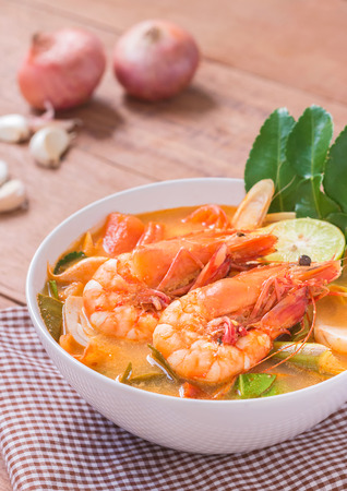 Photo for Tom Yam Kung and Ingredients, Thai cuisine, Thai food, - Royalty Free Image