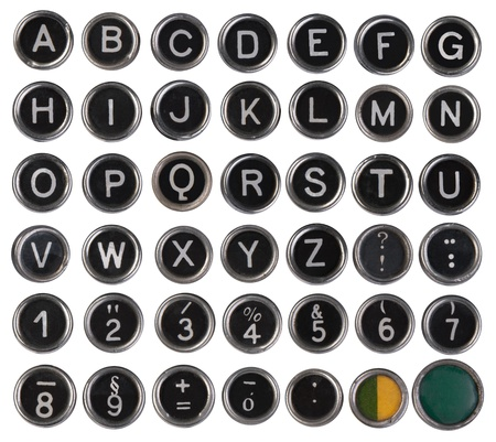 Photo pour Old typewriter keys, alphabet and numbers, isolated on white background - image libre de droit