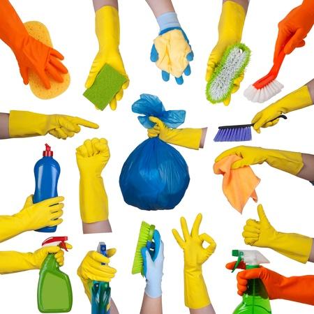 Foto de Hands in rubber gloves doing housework isolated on white background  - Imagen libre de derechos