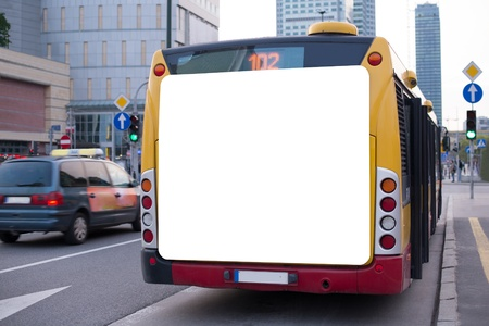 Foto de Blank billboard on back of a bus  - Imagen libre de derechos