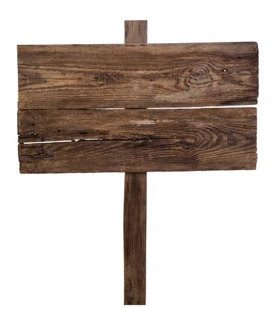 Foto de Old wooden signpost isolated on white background  - Imagen libre de derechos