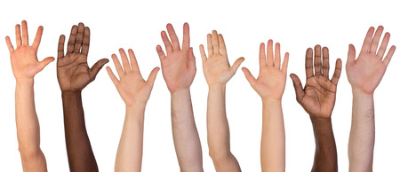 Foto de Many hands up isolated on white background - Imagen libre de derechos