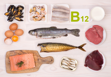 Photo pour Vitamin B12 containing foods - image libre de droit