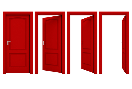 Photo pour Open red door - image libre de droit