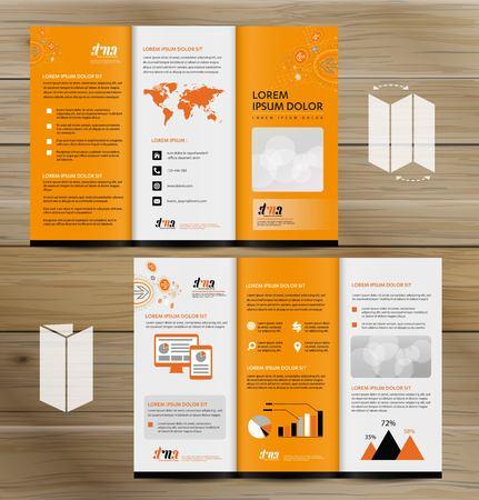 Ilustración de Tri-Fold Brochure Mock-up, Realistic Rendering of Tri-Fold Brochure Background, 3D Illustration. abstract business tri fold Leaflet Flyer vector design set, three fold presentation layout a4 size - Imagen libre de derechos