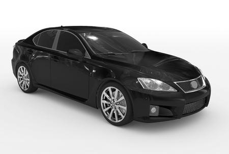 Foto de car isolated on white - black paint, tinted glass - front-right side view - 3d rendering - Imagen libre de derechos
