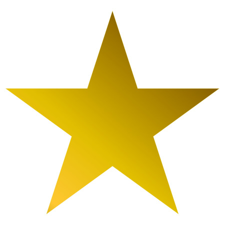 Illustration for Christmas star golden - simple 5 point star - isolated on white - vector illustration - Royalty Free Image