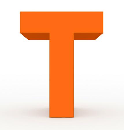 Foto de letter T 3d orange isolated on white - 3d rendering - Imagen libre de derechos