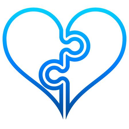Illustrazione per Heart puzzle symbol icon - blue outlined gradient, isolated - vector illustration - Immagini Royalty Free