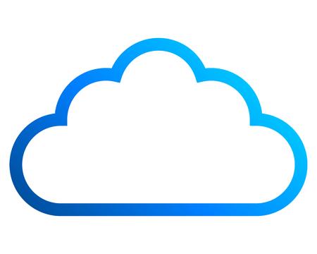 Illustration pour Cloud symbol icon - blue gradient outline, isolated - vector illustration - image libre de droit