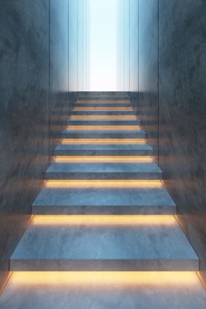 Foto de modern minimalism style stairs with night lighting - Imagen libre de derechos