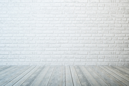 Photo for empty room with white brick wall and wooden floor - Royalty Free Image