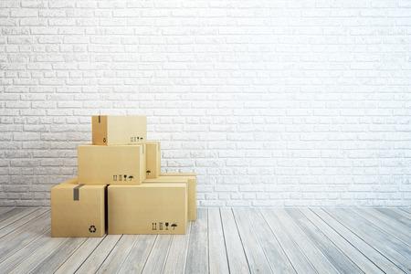 Foto de moving boxes at a new home, 3d rendering - Imagen libre de derechos