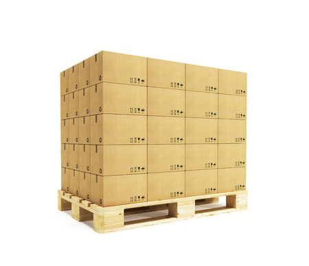 Photo for pallet with cardboard boxes, 3d rendering - Royalty Free Image