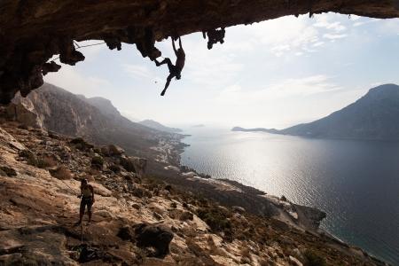 Rock climber climbing at the rock , Kalymnos Island, Greece