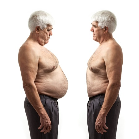 Photo for Overweight man and regular weight man over white background - Royalty Free Image