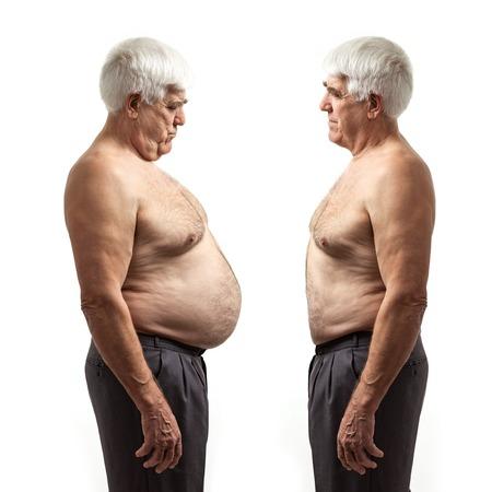 Foto de Overweight man and regular weight man over white background - Imagen libre de derechos