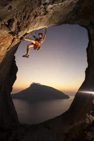 Rock climber at a sunset  Kalymnos Island, Greece