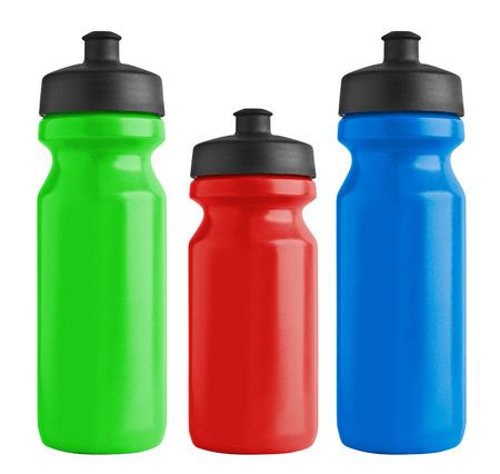 Photo pour Set of blank bicycle plastic bottles for water - image libre de droit