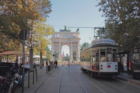 Photo pour Milan, Italy - Sep 28, 2018: Tram on Corso Sempione Street - image libre de droit