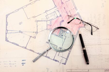 Photo for old Cadastral map with glasses and pen - Royalty Free Image