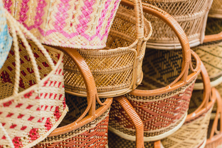 Photo for Handcraft woven Basket product of Thailand OTOP Shop SME best Thai quality for sale. - Royalty Free Image