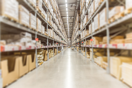 Foto de Large Inventory. Warehouse Goods Stock for Logistic shipping banner background. - Imagen libre de derechos