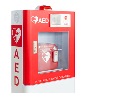 Foto per AED box or Automated External Defibrillator medical first aid device isolated on white background - Immagine Royalty Free