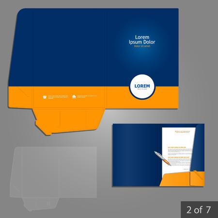 Foto de Blue folder template design for company with orange circle. Element of stationery. - Imagen libre de derechos
