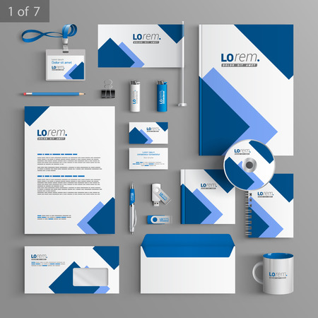 Foto de White stationery template design with blue square elements. Documentation for business. - Imagen libre de derechos
