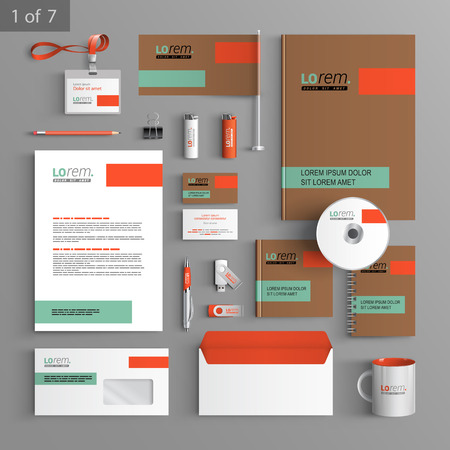 Foto de Brown corporate identity template design with green and orange elements. Business stationery - Imagen libre de derechos