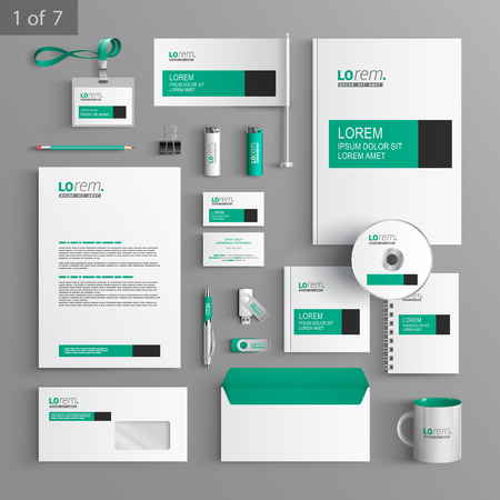 Illustration pour White classic corporate identity template design with green and black square elements. Business stationery - image libre de droit