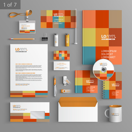 Illustration for Color corporate identity template design with square elements. Business stationery - Royalty Free Image