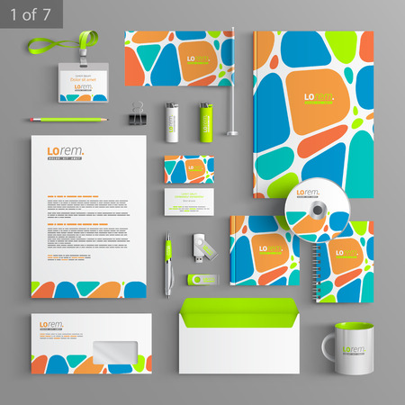 Illustration pour Creative corporate identity template design with color geometric elements. Business stationery - image libre de droit