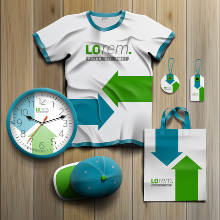 Photo for White promotional souvenirs design for corporate identity with blue and green arrows. Stationery set - Royalty Free Image