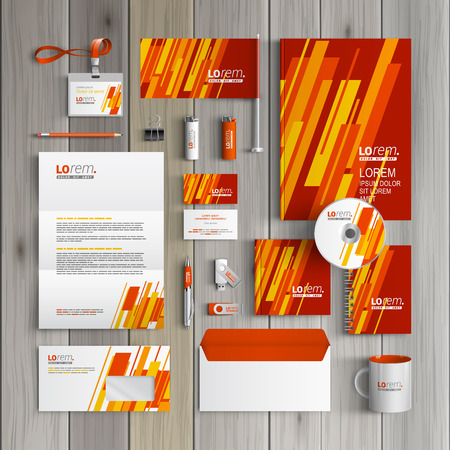 Foto de Red corporate identity template design with yellow and orange diagonal shapes. Business stationery - Imagen libre de derechos