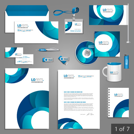 Illustration pour White stationery template design with blue round elements. Documentation for business. - image libre de droit