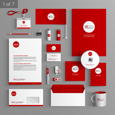Illustration pour Red stationery template design with round element. Documentation for business. - image libre de droit
