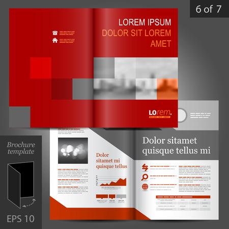 Ilustración de Red business vector brochure template design with geometric elements - Imagen libre de derechos
