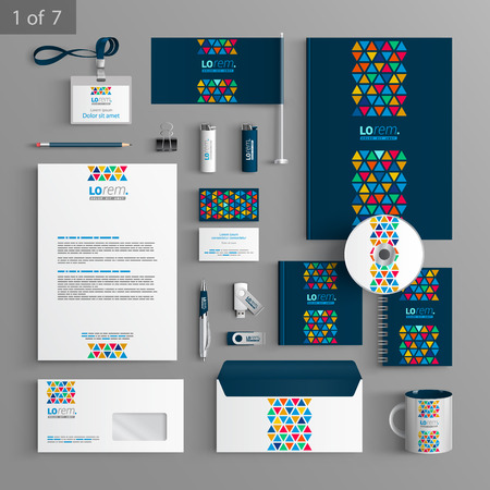 Ilustración de Blue creative stationery template design with color triangles similar to stained glass. Documentation for business. - Imagen libre de derechos