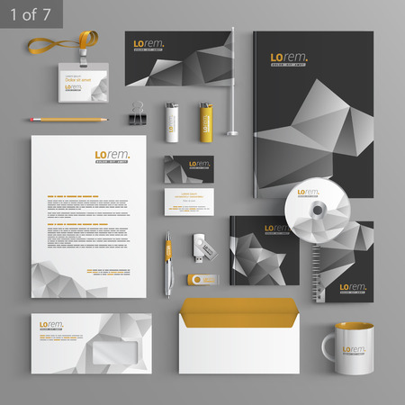 Illustration pour Black stationery template design with origami elements. Documentation for business. - image libre de droit
