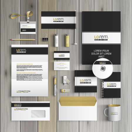 Photo for Black classic corporate identity template design with white line. Business stationery - Royalty Free Image