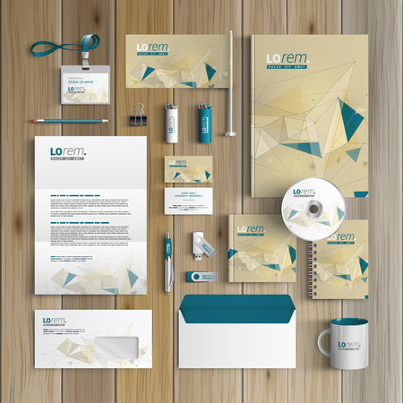 Illustration pour Drawing corporate identity template design with figures and schemes. Business stationery - image libre de droit