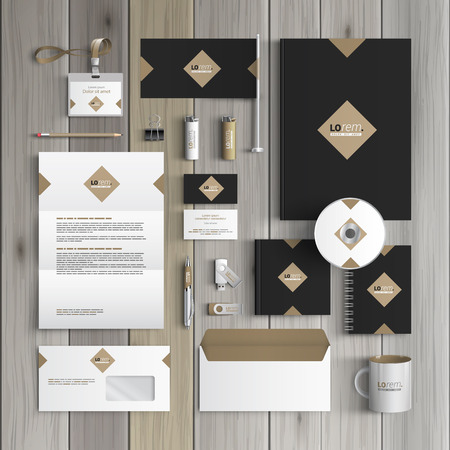 Ilustración de Classic black corporate identity template design with rhombus. Business stationery - Imagen libre de derechos