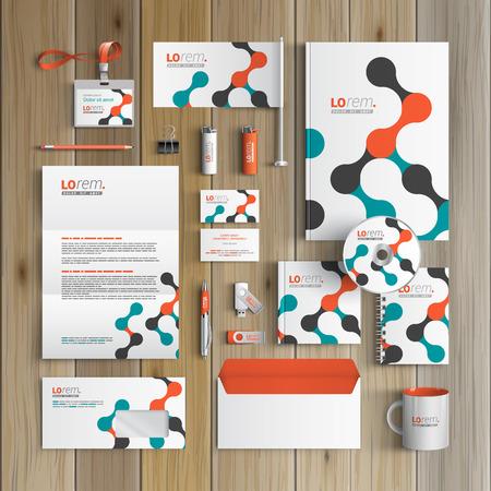 Foto de White corporate identity template design with geometric pattern. Business stationery - Imagen libre de derechos